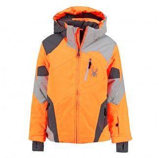 Felle neon oranje kinder ski jas Leader met stoere grijze vlakken.