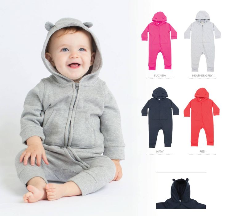Fleece all in one Long line zip for ease of access. Hood with ears detail. Single Jersey inner hood. Front kangaroo pocket. Flat lock stitching.