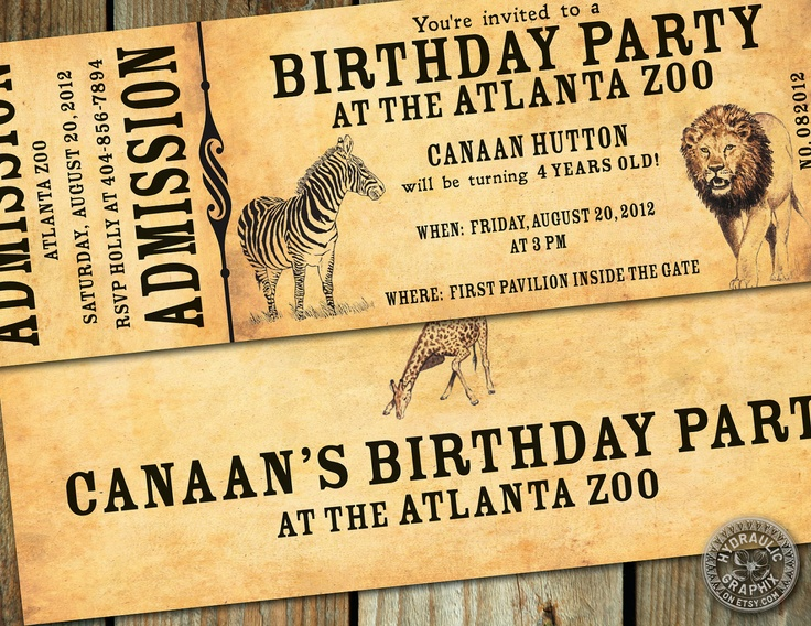 Zoo Birthday Party Ticket Invitation for a by HydraulicGraphix, $25.00