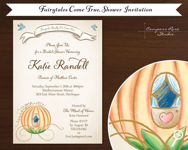 Cinderella Bridal Shower Invitation - FREE SHIPPING - Disney, Cinderella, Bluebirds, Fairytale - Vintage Watercolor & Gouache Illustration by CompassRoseStudio on Etsy https://www.etsy.com/listing/200178490/cinderella-bridal-shower-invitation-free