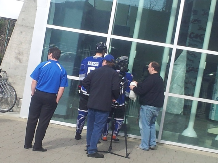 Victoria royals hockey doing a photo shoot and commercial