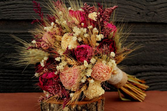 MY BOUQUET!  Rustic Burgundy and Pink Wedding Bouquet, Large Bridal Bouquet, Rustic Chic Bouquet, Dried Flowers, Peony Bouquet with Wheat & Wild Flowers