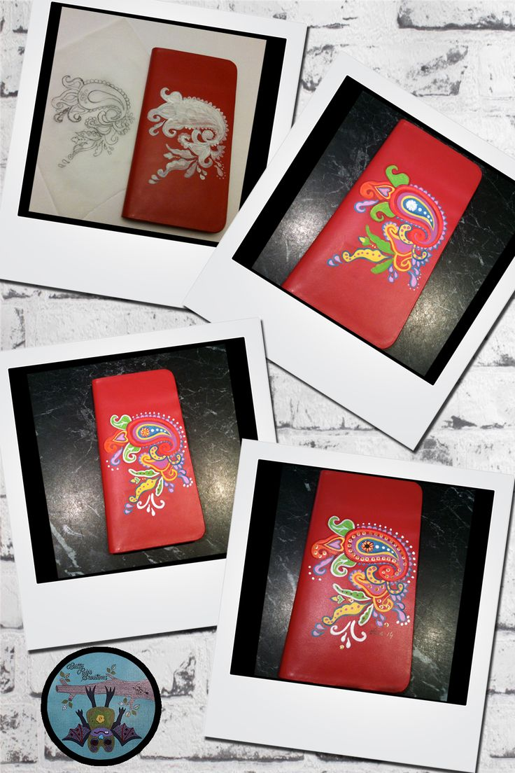 My hand painted iPhone 6 Plus leather folio cover.  Paisley Passion in Red.