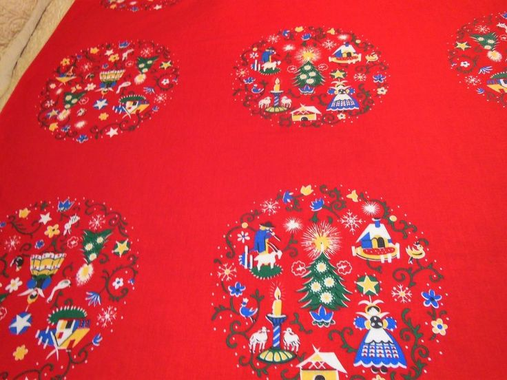Vintage WILENDUR ALPINE HOLIDAY Tablecloth Bright Red Christmas Cloth
