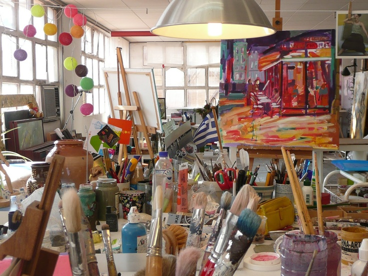 Studio. Another wonderfully messy creative studio!  Makes me want to paint!