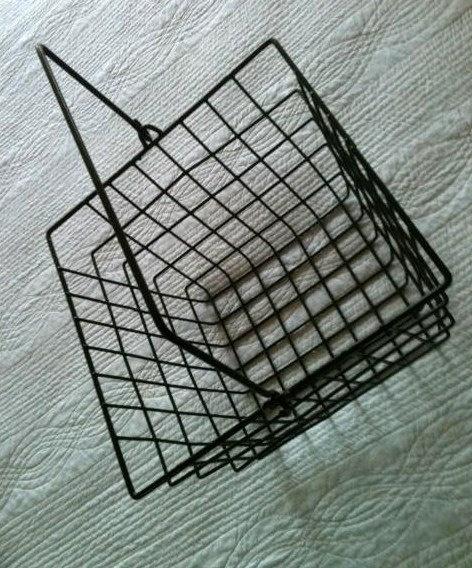 Vintage Industrial Melanoid Black Wire Basket with Handle