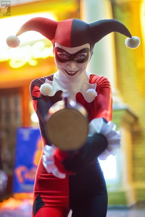 This is one of the best Harley Quinn costumes I've ever seen.; She looks maniacal. It's amazing.