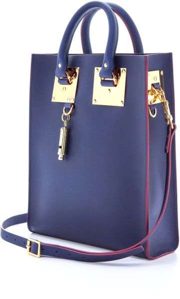Sophie Hulme Blue Mini Tote Bag Lemon