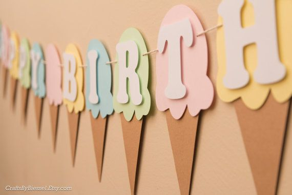 This adorable pastel colored Ice Cream garland birthday banner is the perfect touch for your next Ice Cream theme party!  This 14 ice cream cone flag banner with four alternating pastel colored ice cream reads Happy Birthday with an ice cream cone that separates the two words. Banner is made of high quality kraft, white and pastel colors cardstock. The letters are all raised off the ice cream cones for a popping multidimensional look! The banner comes preassembled and is held together by…