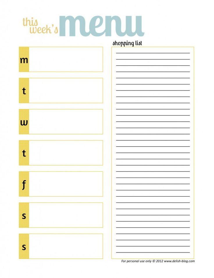 17 best ideas about Weekly Menu Template – Menu Calendar Template
