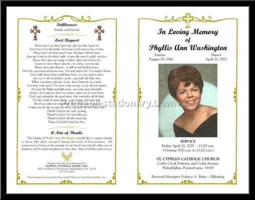 templates memorial cards for funerals