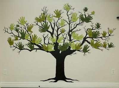 Handprint family tree- Used this as my inspiration in commemorating the baptism of our daughter. We made the leaves out of her foot and hand prints.  They were done in paint on a scrapbook paper tree on canvas. - This could be a really cool center panel on a large quilt!