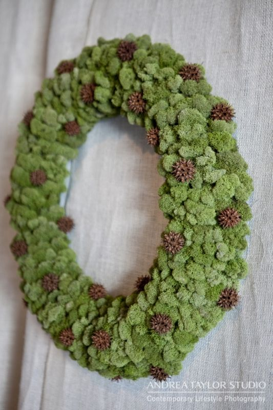 Le Jardin Francais - holiday decor. Reindeer moss and sweetgum