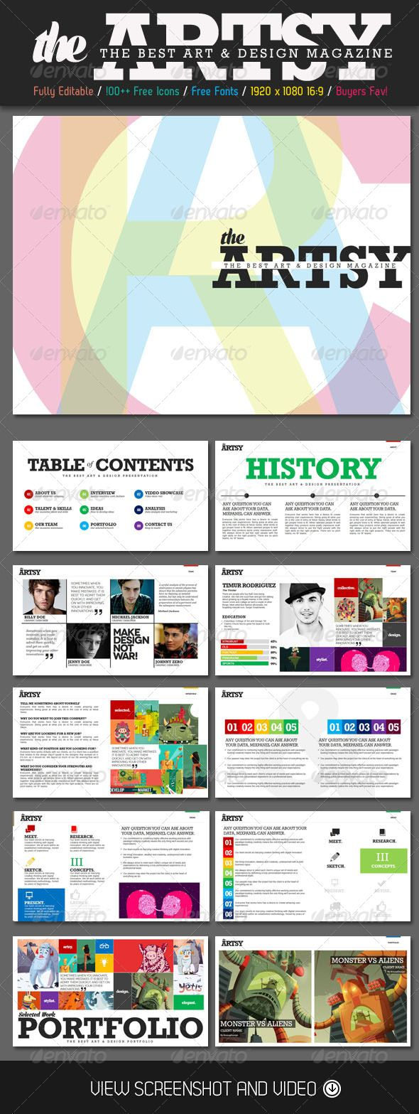 Finally! A way to combat Powerpoint BORE!  Artsy Magazine PowerPoint Template - Creative Powerpoint and KeyNote Templates | Graphic River