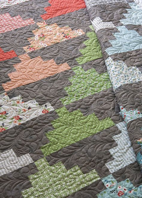 Summit quilt, a jelly roll pattern by Vanessa Goertzen of Lella Boutique. Fabric is Nest by Lella Boutique for Moda Fabrics, shipping March 2018.