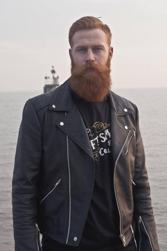 Gwiym Pugh being ridiculously handsome - full thick red beard and mustache beards bearded man men mens' style biker leather jacket fashion redhead ginger nice eyes #beardsforever