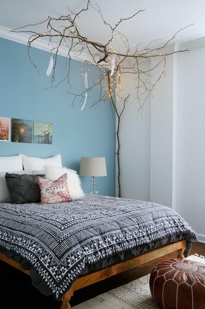 Интерьер спальни для подростка в голубых оттенках