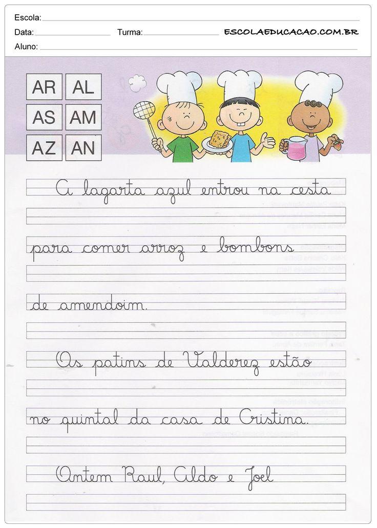 Caderno de Caligrafia - AR, AL, AS, AM, AZ e AN