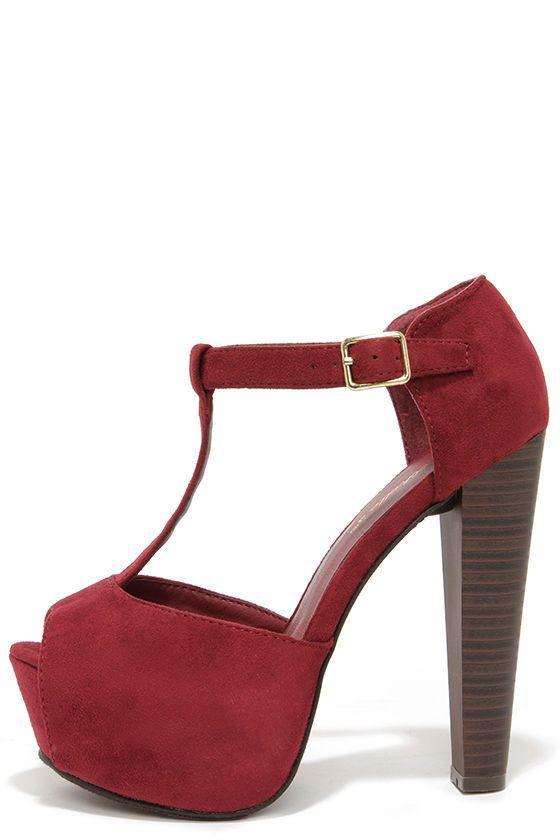 Brina 01W Wine Red T-Strap Peep Toe Platform Heels at Lulus.com!