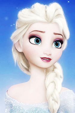 A beatiful picture of Elsa from frozen with a backround of snowflakes!