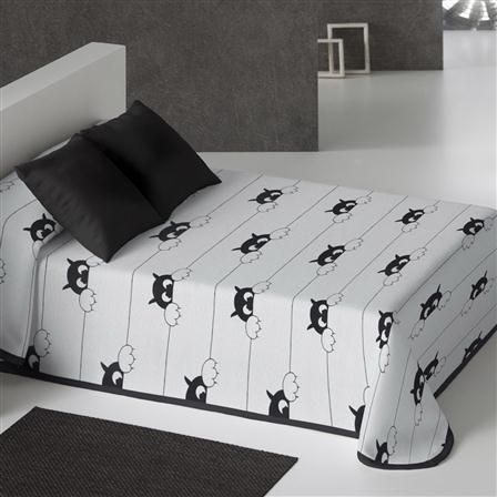 Colcha negra Teo de Luisa Sempere, cama 105 cm