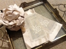 Coffee tray cloth with handmade lace and silk fabric