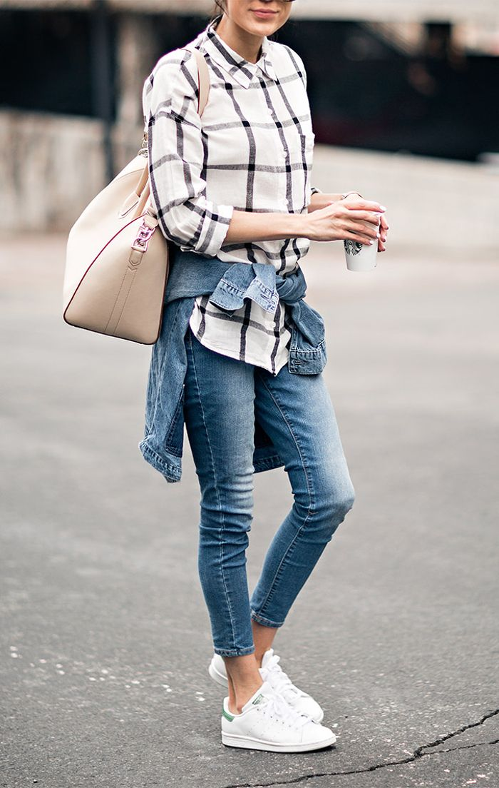skinny jeans - sneakers - checked shirt | hello fashion WOMEN'S JEANS http://amzn.to/2l7Qdaw