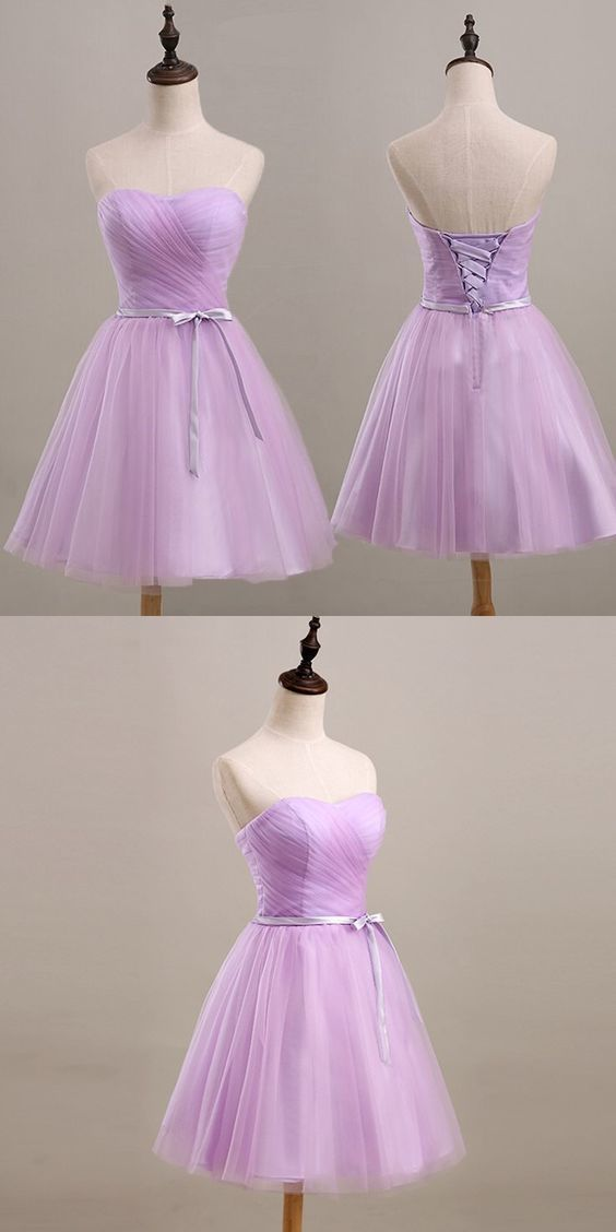 Lavender Sweetheart Short Ruched with Sash Bridesmaid Dress
