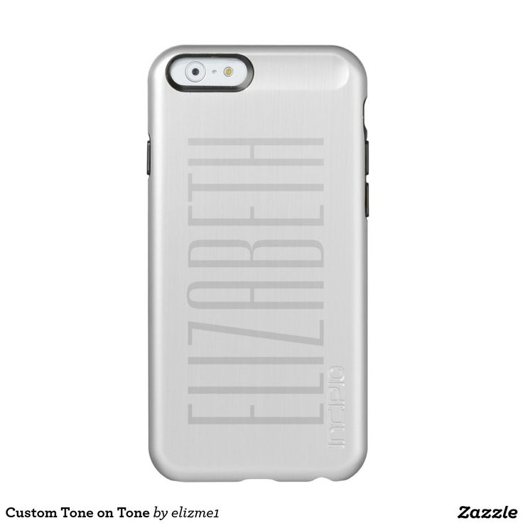 Custom Tone on Tone Incipio Feather® Shine iPhone 6 Case An elegant effect is featured on this metallic phone case. Your custom name appears in opaque gray letters on the polished silver colored case.