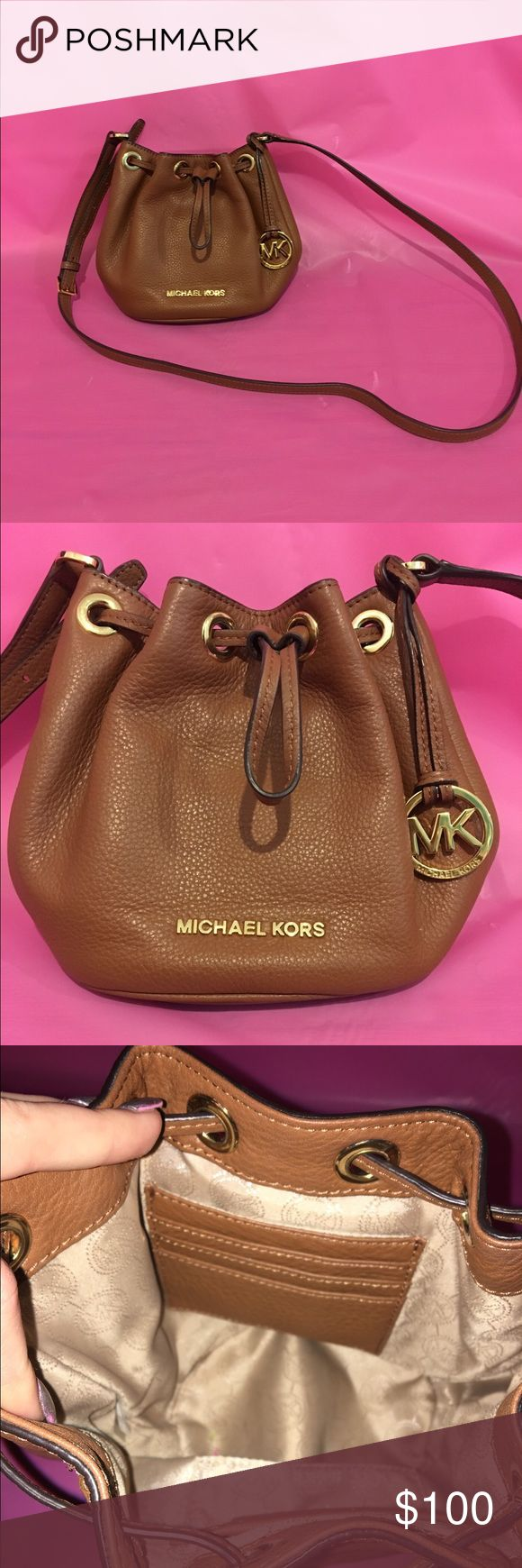Brown Michael Kors Bucket bag Small brown leather bucket bag Michael Kors Bags Crossbody Bags