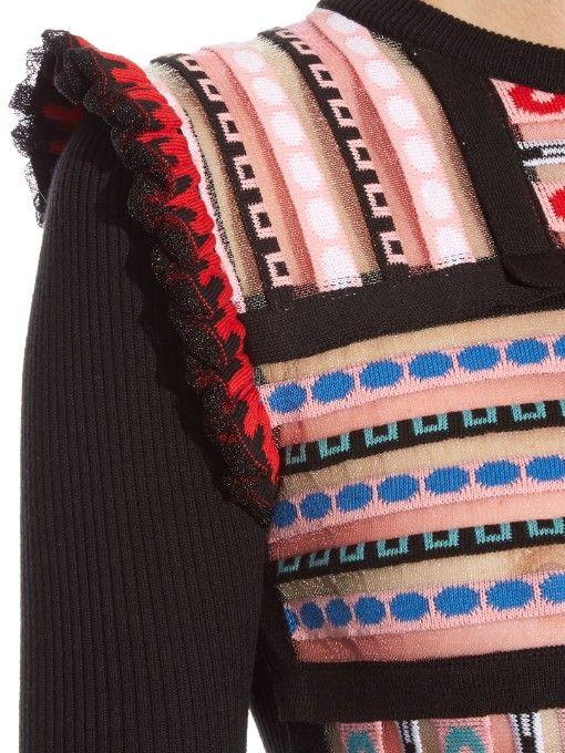 MSGM Patchwork intarsia-knit sweater