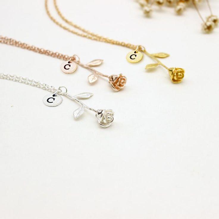 Rose Letter Necklace