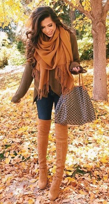 #fall #fashion ·  Camel Scarf & Knee Length Boots + Totes + Skinny Jeans