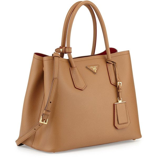 Prada Saffiano Cuir Medium Double Bag (42.205 ARS) ❤ liked on Polyvore  featuring bags