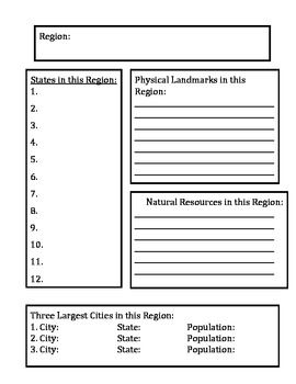 Regions of the Us Worksheet | Regions of the United States Research Project