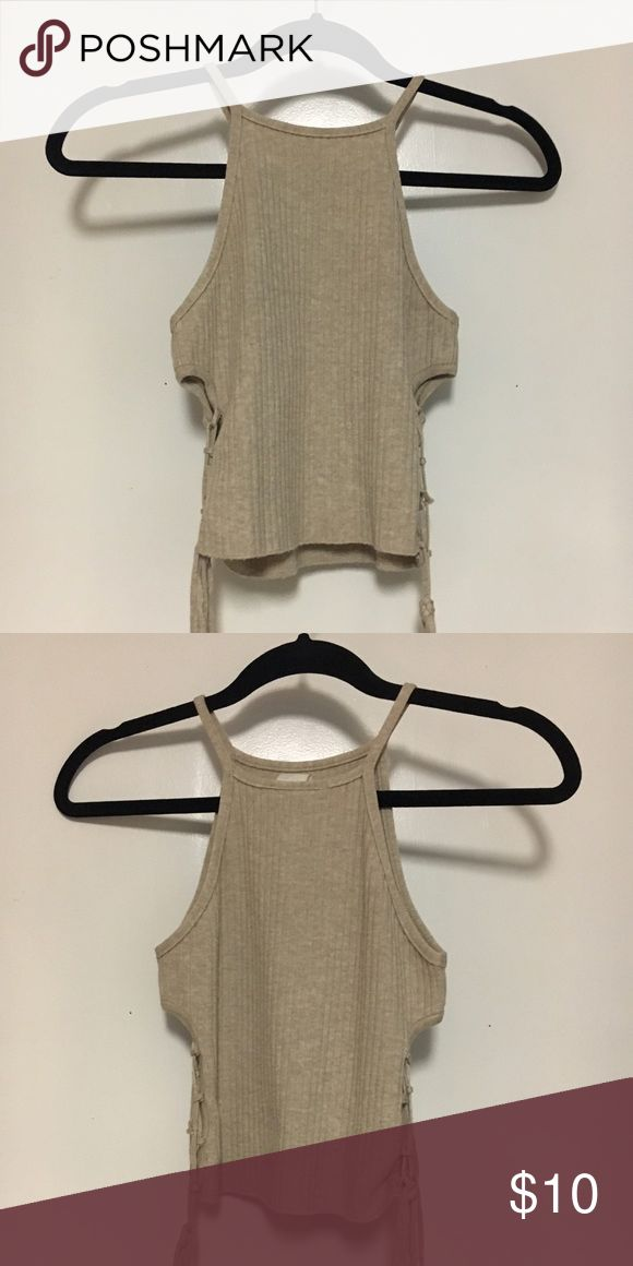 beige crop top with side cut outs crop top with cut outs that lace up on the side Tops Crop Tops