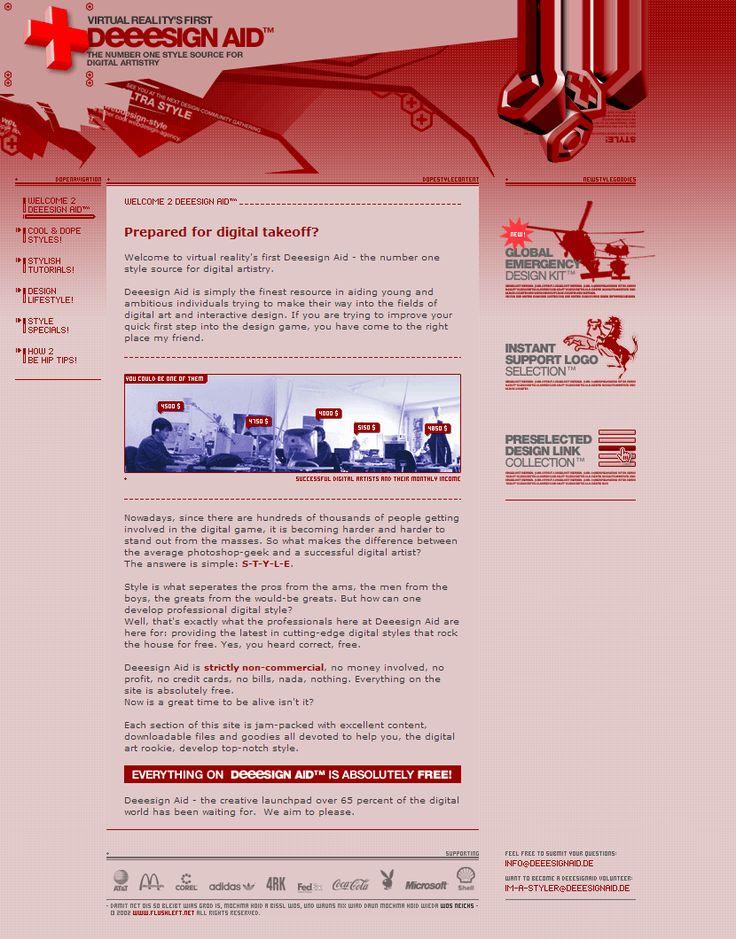 Deeesign Aid website in 2002