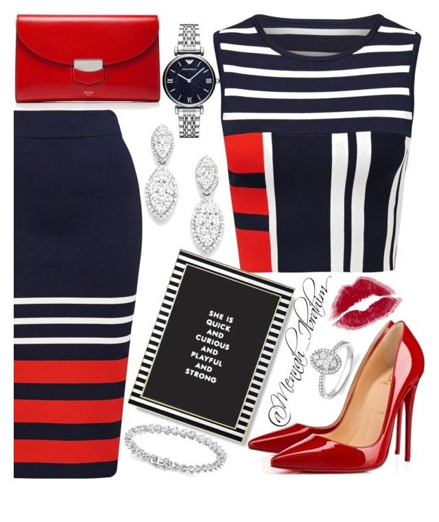 """""""#Striped"""" by mennah-ibrahim on Polyvore featuring Kate Spade, CÉLINE, Christian Louboutin, Emporio Armani and Bloomingdale's"""