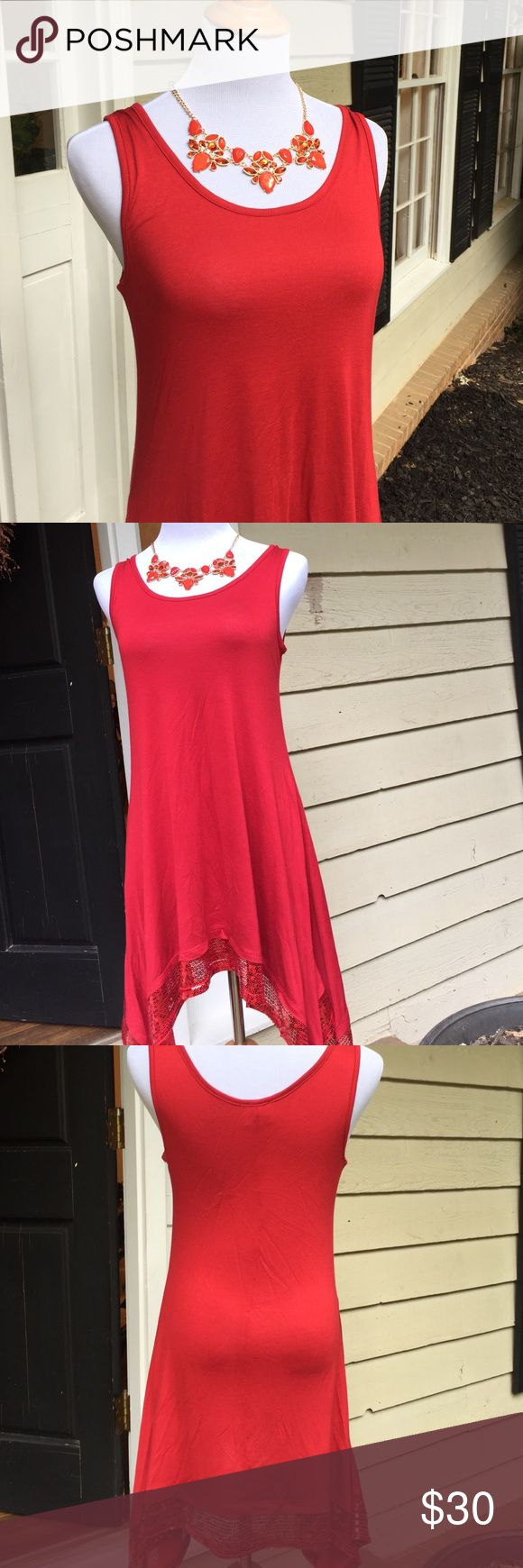 ⚡️sale! Red tunic dress with red sequins. NWOT Pretty red tunic with sequinned hem. Side pockets to carry your lipstick!  Handkerchief hem. Dresses Mini