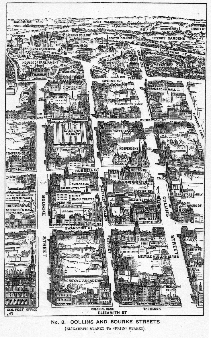 Birds eye map view of Melbourne circa 1900 including Bourke Street with Eastern Markets (which no longer exist).