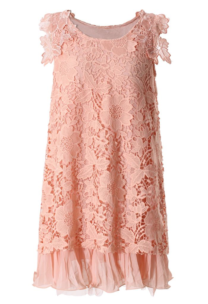 Full Crochet Floral Pink Dress with Fluted Hemline - Dress - Retro, Indie and Unique Fashion