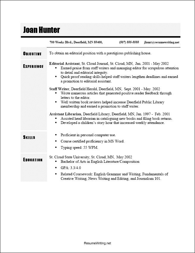50 best Resume and Cover Letters images on Pinterest Sample - Chronological Resume Template Word