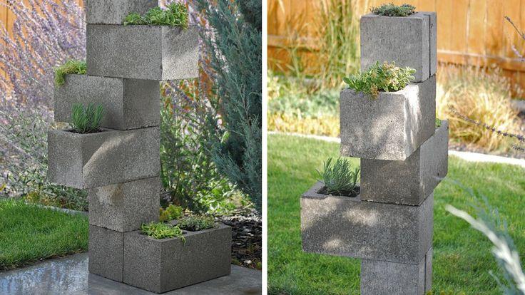 colonne jardiniere parpaings diy jardin pinterest meilleures id es parpaing jardini res. Black Bedroom Furniture Sets. Home Design Ideas