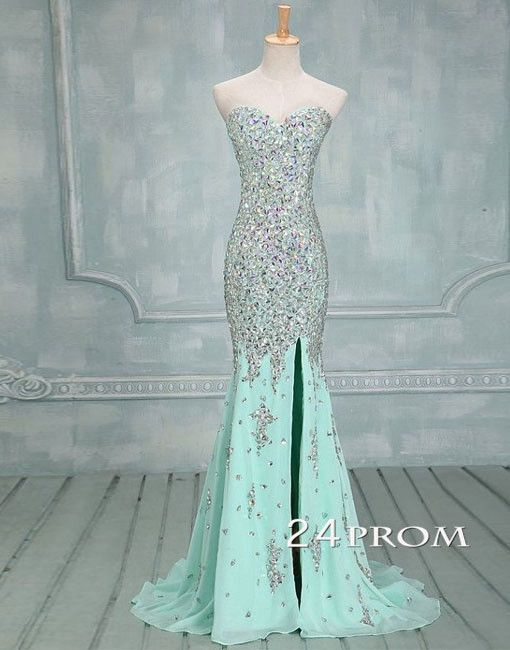 Green Mermaid Rhinestone Long Prom Dresses, Formal Dress