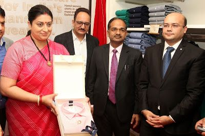 @InstaMag - Peter England introduced its smart formals range for men made with handwoven fabric. Smriti Zubin Irani was present on the occasion to support the move.
