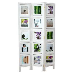 Paravent Paravent en bois et Bambou blanc Photo Wall de …