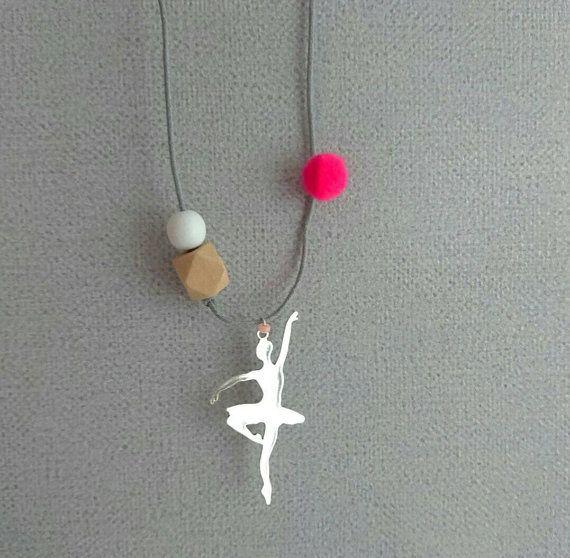 Silver ballerina necklace  white geometric pink von ZanaZelephant