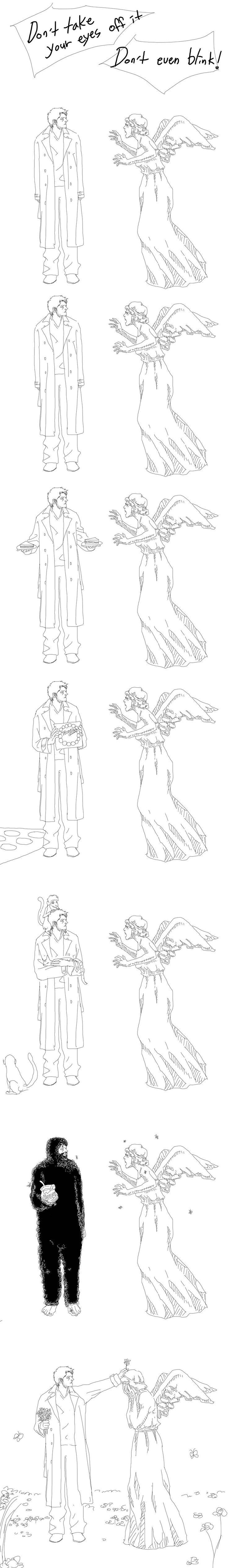Castiel vs Weeping Angel by sweetdari.deviantart.com on @deviantART