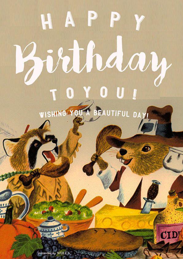 レトロで可愛い動物イラストのお誕生日会画像 Birthday Card 誕生日