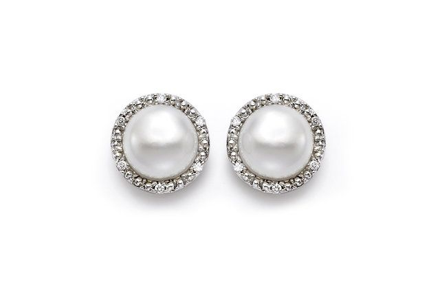 Freshwater Cultured Pearl Diamond Halo Stud Earrings (8mm) - in 18kt White Gold